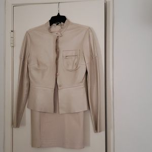 Bebe Genuine leather and linen 2 pc skirt/jacket